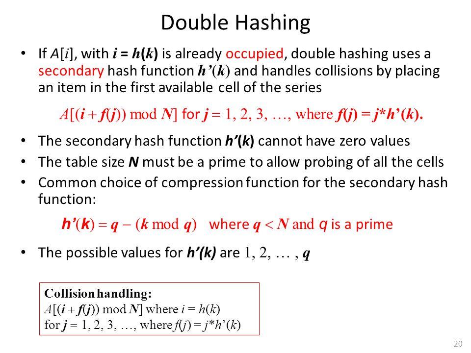 A[(i + f(j)) mod N] for j = 1, 2, 3, …, where f(j) = j*h'(k).
